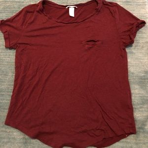 soft maroon shirt sleeve with scoop neck